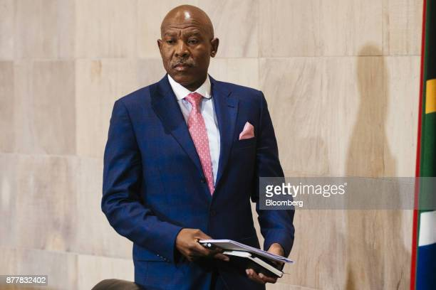 Lesetja Kganyago governor of South Africa's central bank arrives for a news conference following a Monetary Policy Committee meeting in Pretoria...