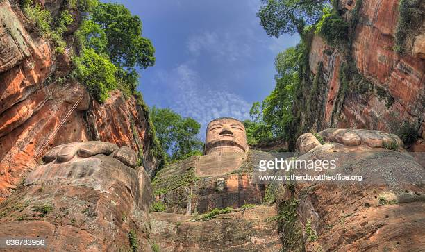 leshan giant buddha - buddha stock pictures, royalty-free photos & images