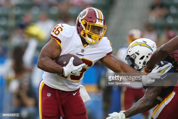 LeShun Daniels of the Washington Redskins during a NFL game between the Washington Redskins and the Los Angeles Chargers on December 10 2017 at the...
