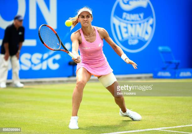 Lesia Tsurenjo of Ukraine hits a forehand during her first round match against Johanna Konta of Great Britain on day two of The Aegon Classic...