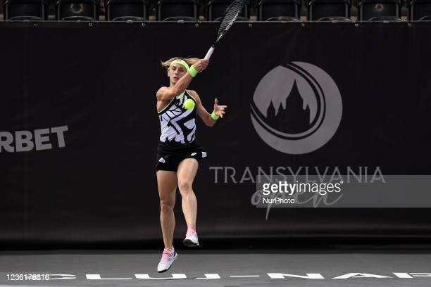 Lesia Tsurenko in action - receiving the ball during her match against Andreea Prisacariu on the third day of WTA 250 Transylvania Open Tour held in...