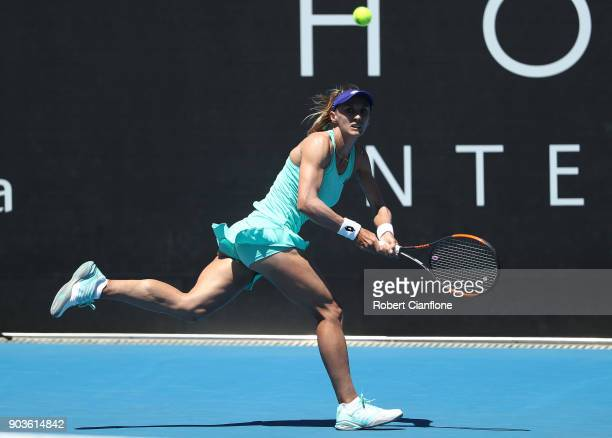 Lesia Tsurenko of the Ukraine plays a backhand during her singles match against Aryna Sabalenka of Belarus at the 2018 Hobart International at Domain...