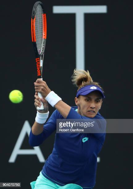 Lesia Tsurenko of the Ukraine plays a backhand during the semi finals singles match against Mihaela Buzarnescu of Romania during the 2018 Hobart...