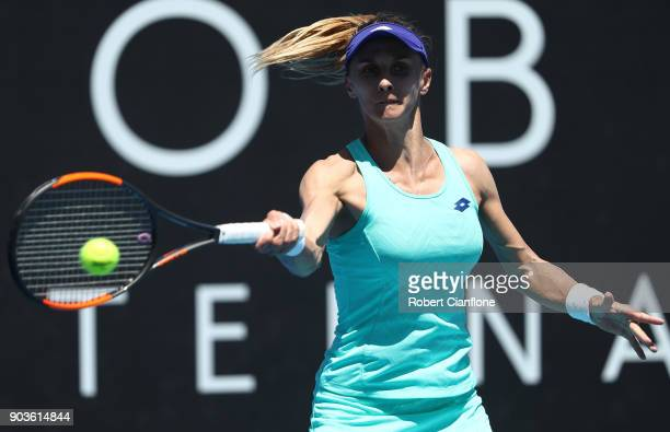 Lesia Tsurenko of the Ukraine plays a forehand during her singles match against Aryna Sabalenka of Belarus at the 2018 Hobart International at Domain...