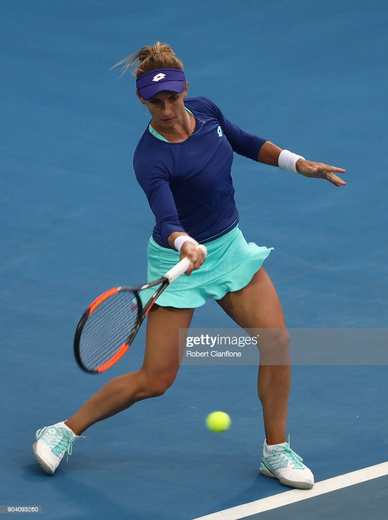 Lesia Tsurenko of the Ukraine plays a forehand during the semi finals singles match against Mihaela Buzarnescu of Romania during the 2018 Hobart International at Domain Tennis Centre on January 12, 2018 in Hobart, Australia.