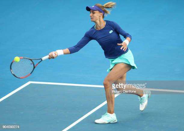 Lesia Tsurenko of the Ukraine plays a forehand during the semi finals singles match against Mihaela Buzarnescu of Romania during the 2018 Hobart...