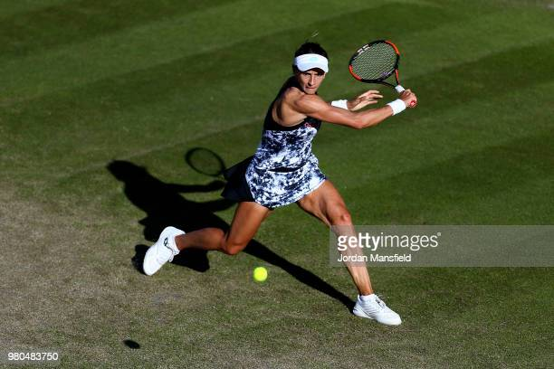 Lesia Tsurenko of the Ukraine reaches for a backhand during her Round of 16 match against Daria Kasatkina of Russia during Day Six of the Nature...