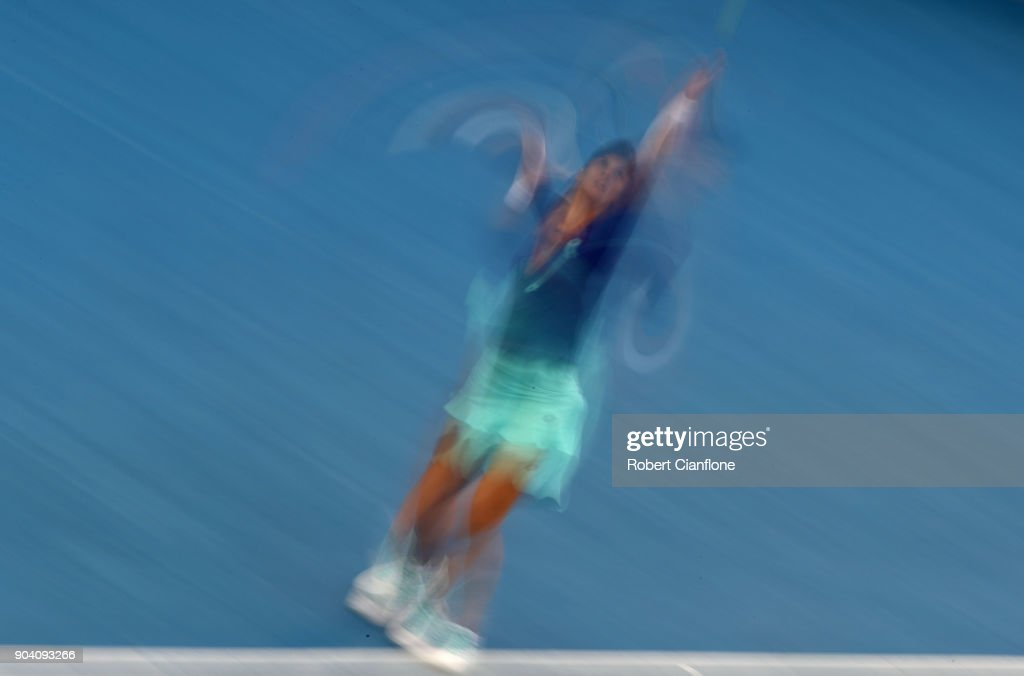 Lesia Tsurenko of the Ukraine serves during the semi finals singles match against Mihaela Buzarnescu of Romania during the 2018 Hobart International at Domain Tennis Centre on January 12, 2018 in Hobart, Australia.