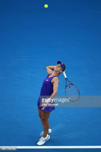 Lesia Tsurenko of the Ukraine serves in her first round match against Angelique Kerber of Germany on day one of the 2017 Australian Open at Melbourne...