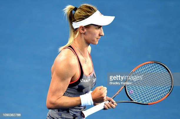 Lesia Tsurenko of Ukraine celebrates after winning the first set in the Women's Finals match against Karolina Pliskova of the Czech Republic during...