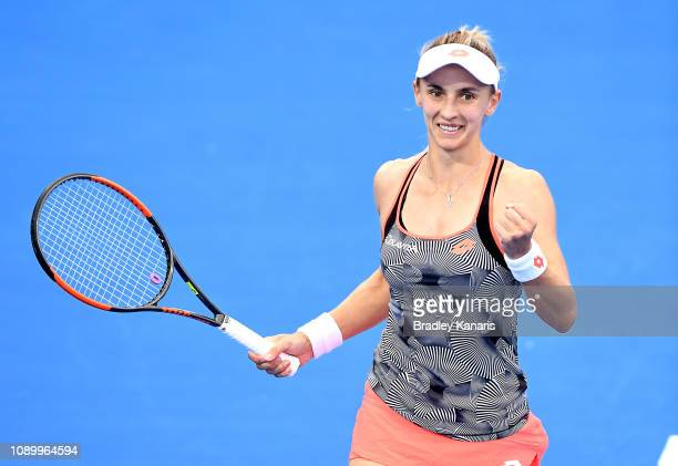 Lesia Tsurenko of Ukraine celebrates after winning the match against Naomi Osaka of Japan during day seven of the 2019 Brisbane International at Pat...