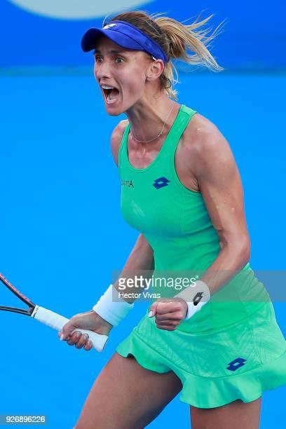 Lesia Tsurenko of Ukraine celebrates during a semifinal match between Daria Gavrilova of Australia and Lesia Tsurenko of Ukraine as part of the...