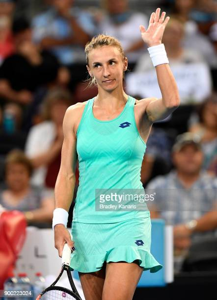 Lesia Tsurenko of Ukraine celebrates victory after her match against Ashleigh Barty of Australia during day two of the 2018 Brisbane International at...