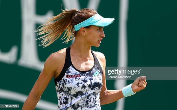 Lesia Tsurenko of Ukraine celebrates winning a point during her first round match against Heather Watson of Great Britain on Day Four of the Nature...