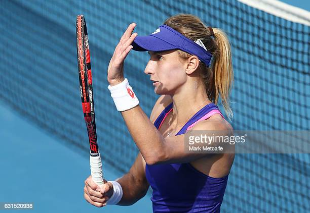 Lesia Tsurenko of Ukraine celebrates winning match point in her quarter final match against Shelby Rogers of the USA during day three of the 2017...