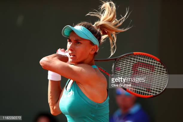 Lesia Tsurenko of Ukraine during her ladies singles first round match against Eugenie Bouchard of Canada during Day three of the 2019 French Open at...