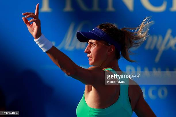 Lesia Tsurenko of Ukraine gestures during a semifinal match between Daria Gavrilova of Australia and Lesia Tsurenko of Ukraine as part of the Telcel...