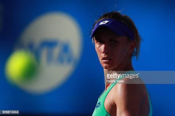 Lesia Tsurenko of Ukraine looks on during a semifinal match between Daria Gavrilova of Australia and Lesia Tsurenko of Ukraine as part of the Telcel...