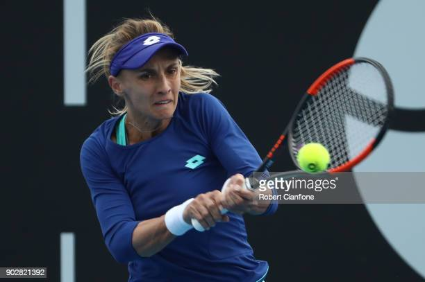 Lesia Tsurenko of Ukraine plays a backhand during her singles match againsts Yulia Putintseva of Kazakhstan during the 2018 Hobart International at...