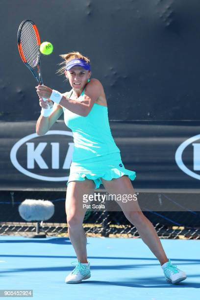 Lesia Tsurenko of Ukraine plays a backhand in her first round match against Natalia Vikhlyantseva of Russia on day two of the 2018 Australian Open at...