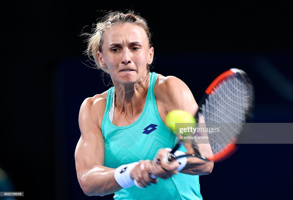 Lesia Tsurenko of Ukraine plays a backhand in her match against Ashleigh Barty of Australia during day two of the 2018 Brisbane International at Pat Rafter Arena on January 1, 2018 in Brisbane, Australia.