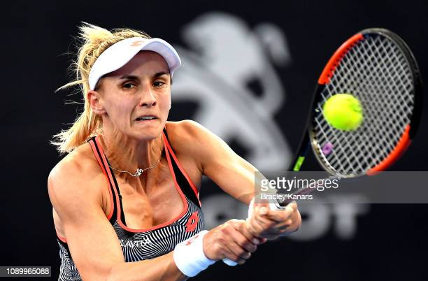 Lesia Tsurenko of Ukraine plays a backhand in her semi final match against Naomi Osaka of Japan during day seven of the 2019 Brisbane International...