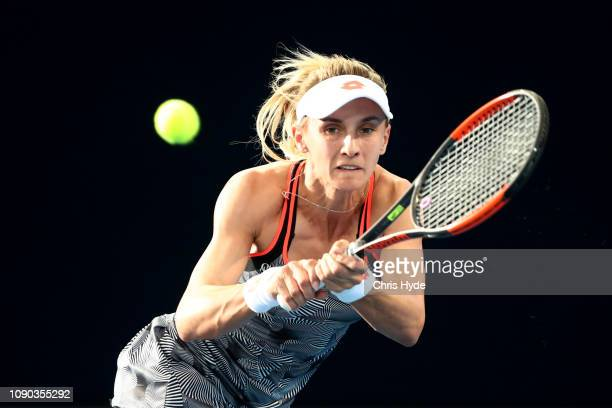 Lesia Tsurenko of Ukraine plays a backhand in the Women's Finals match against Karolina Pliskova of the Czech Republic during day eight of the 2019...