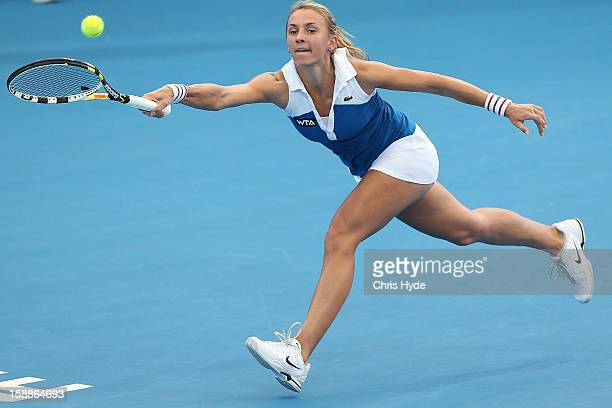 Lesia Tsurenko of Ukraine plays a forehand during her match against Jarmila Gajdosova of Australia on day four of the Brisbane International at Pat...