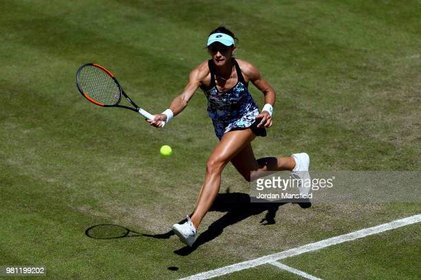 Lesia Tsurenko of Ukraine plays a forehand during her quarterfinal match against Barbora Strycova of the Czech Republic during Day Seven of the...