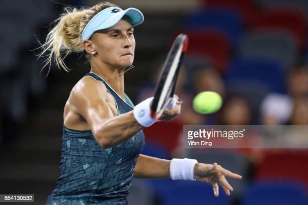 Lesia Tsurenko of Ukraine plays a forehand during the second round Ladies Singles match against Garbine Muguruza of Spain on Day 3 of 2017 Dongfeng...