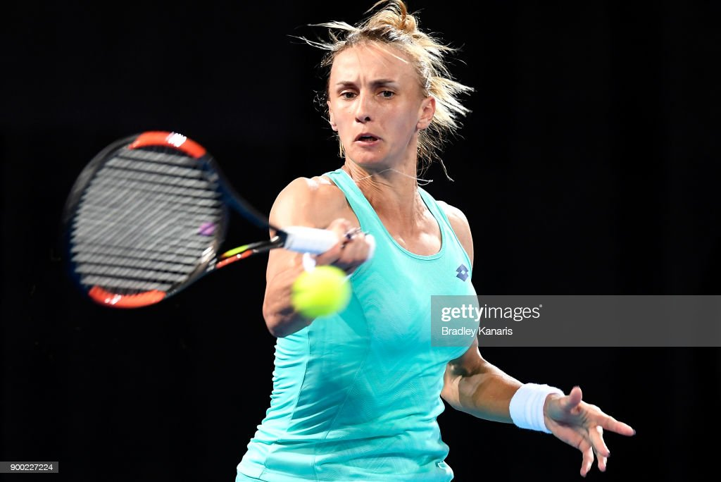 Lesia Tsurenko of Ukraine plays a forehand in her match against Ashleigh Barty of Australia during day two of the 2018 Brisbane International at Pat Rafter Arena on January 1, 2018 in Brisbane, Australia.