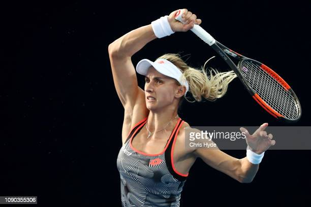 Lesia Tsurenko of Ukraine plays a forehand in the Women's Finals match against Karolina Pliskova of the Czech Republic during day eight of the 2019...