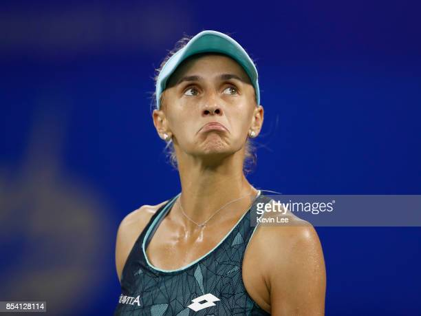 Lesia Tsurenko of Ukraine reacts in the match against Garbine Muguruza of Spain in round 2 of Women's Single during Day 3 on September 26 2017 in...