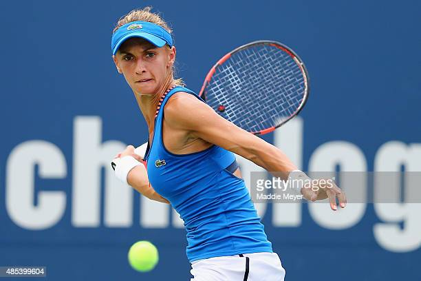 Lesia Tsurenko of Ukraine returns a forehand to Karolina Pliskova Czech Republic on Day 4 of the Connecticut Open at Connecticut Tennis Center at...