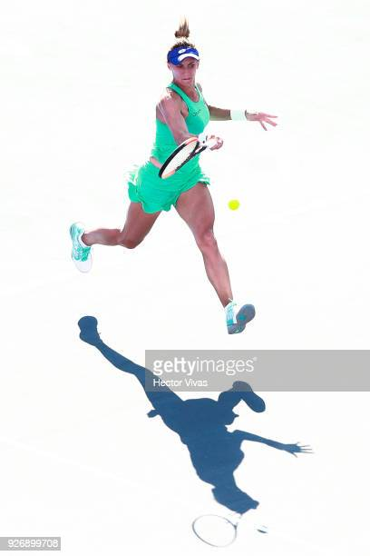 Lesia Tsurenko of Ukraine returns a shot during a semifinal match between Daria Gavrilova of Australia and Lesia Tsurenko of Ukraine as part of the...