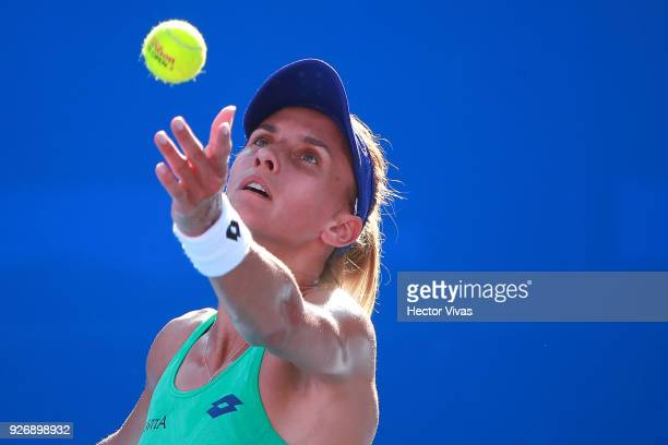 Lesia Tsurenko of Ukraine serves during a semifinal match between Daria Gavrilova of Australia and Lesia Tsurenko of Ukraine as part of the Telcel...