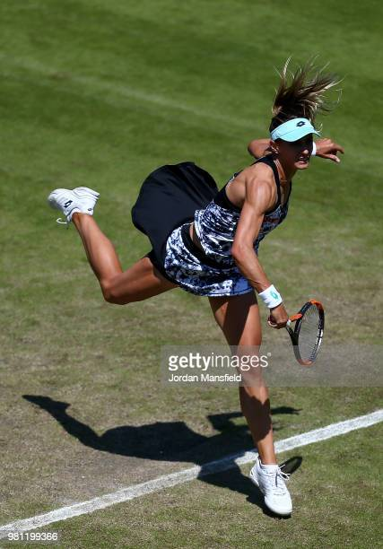 Lesia Tsurenko of Ukraine serves during her quarterfinal match against Barbora Strycova of the Czech Republic during Day Seven of the Nature Valley...