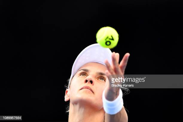 Lesia Tsurenko of Ukraine serves in her semi final match against Naomi Osaka of Japan during day seven of the 2019 Brisbane International at Pat...