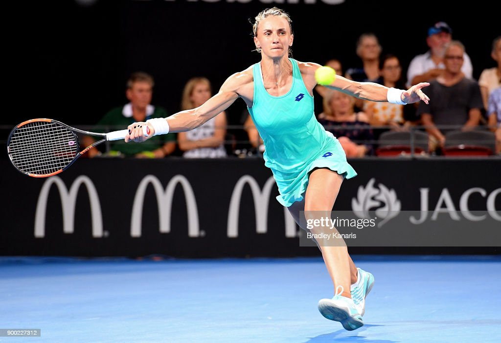 Lesia Tsurenko of Ukraine stretches out to play a forehand in her match against Ashleigh Barty of Australia during day two of the 2018 Brisbane International at Pat Rafter Arena on January 1, 2018 in Brisbane, Australia.