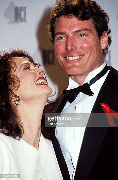 Lesley Ann Warren & Christopher Reeve during 1992 Cable ACE Awards in Los Angeles, California, United States.