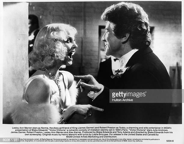 """Lesley Ann Warren screams at Robert Preston in a scene for the MGM movie """"Victor Victoria"""" circa 1982."""