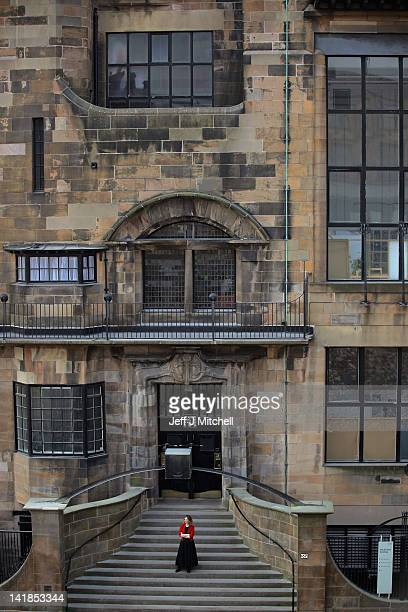 Lesley Booth stands on the steps of the Glasgow School of Art Mackintosh building on March 25 2012 in Glasgow Scotland For the past 50 years it has...