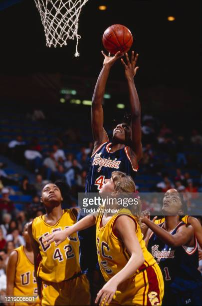 Lesley Brown, Power Forward for the University of Virginia Cavaliers jumps for the hoop during the NCAA Pac-10 Conference college basketball game...