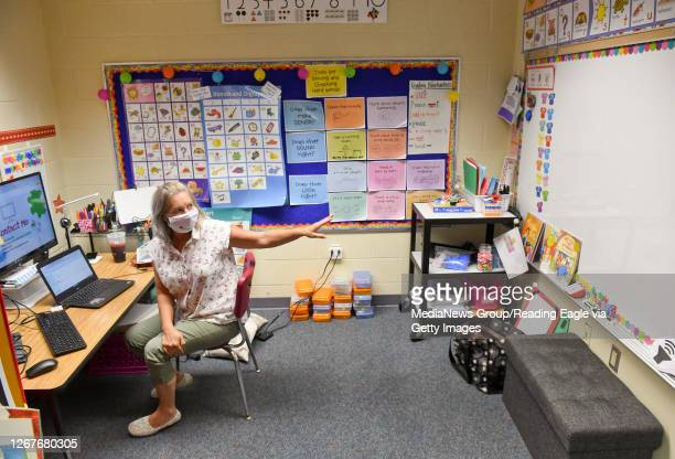 Lesley Douventzidis, a 2nd Grade Remote teacher works on getting ready for the start of school in her specially setup classroom with a camera and...