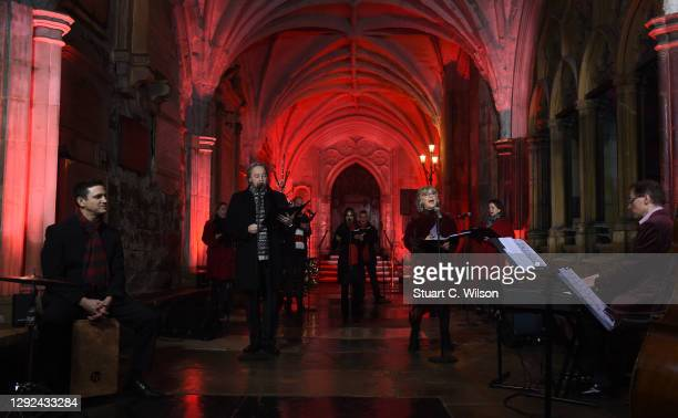 Lesley Garrett and John Owen Jones perform at Westminster Abbey on December 21, 2020 in London, England. Out to Perform has organised the carol...