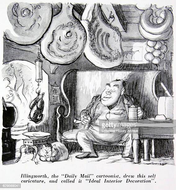 British cartoonist for the Daily Mail newspaper Cartoon on the theme of a man at home with food hanging from his kitchen ceiling 1950