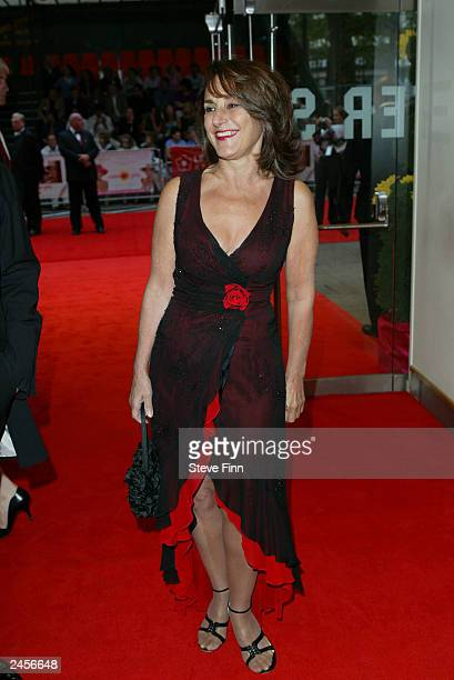 """Lesley Joseph attends the gala premiere of """"Calendar Girls"""" at the Odeon, Leicester Square September 2, 2003 in London, United Kingdom."""