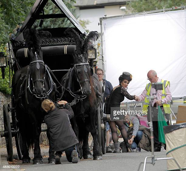Lesley Joseph is pictured filming a funeral scene for 'Birds of a Feather' on August 5 2015 in London England
