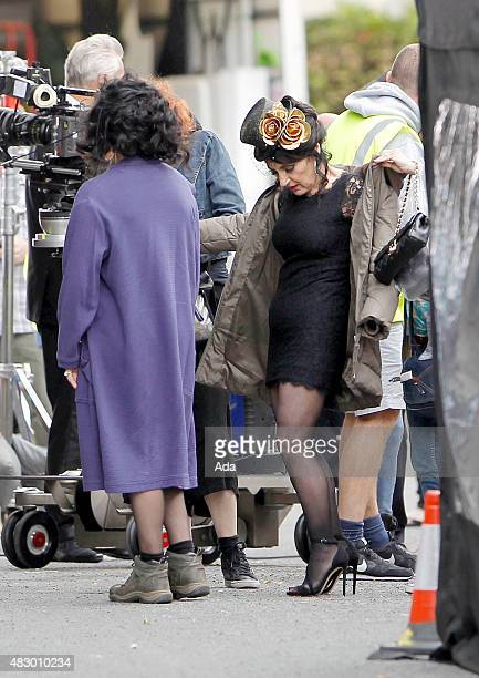 Lesley Joseph is pictured filming a funeral scene for 'Birds of a Feather' on August 5, 2015 in London, England.
