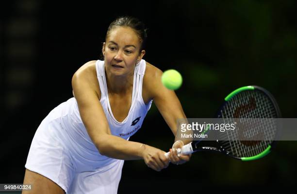 Lesley Kerkhove of the Netherlands plays a back hand in the doubles match with Demi Schuurs against Destanee Aiava and Daria Gavrilova of Australia...